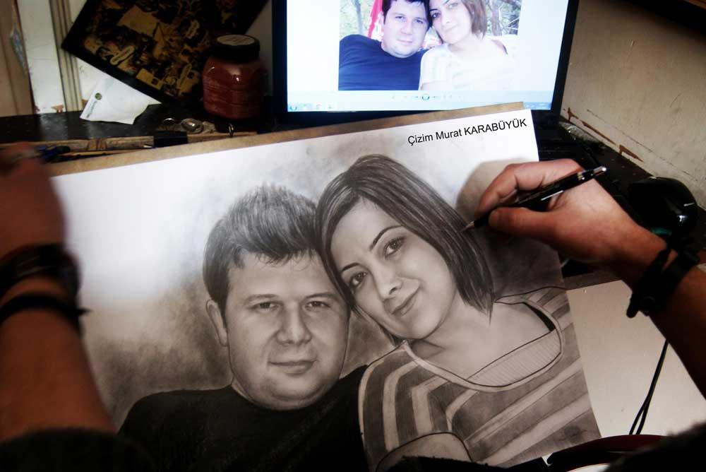 karakalem portre istanbul ankara çizim sevgili hediye fiyat listesi 64